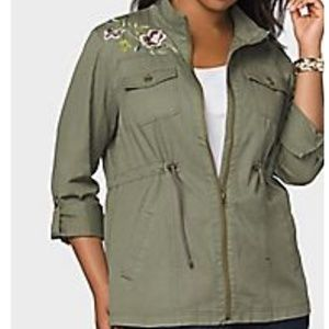 9f9fc17973 Westport Jackets   Coats - army DRESSBARN MILITARY UTILITY EMBROIDERED  JACKET